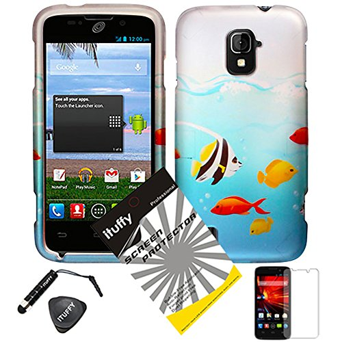 4 items Combo: ITUFFY (TM) LCD Screen Protector Film + Mini Stylus Pen + Case Opener + Blue Ocean Saltwater Yellow Angel Nemo Fish Design Rubberized Snap on Hard Shell Cover Faceplate Skin Phone Case for ZTE Majesty / Z796c - StraightTalk (Fish)