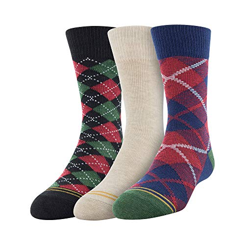 - Gold Toe Boys' Little Plaid Crew Socks, 3 Pairs, Navy/Khaki/Black, Medium (Shoe Size: 9-2.5)