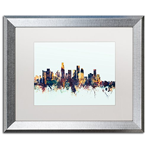 Los Angeles CA Skyline Blue by Michael Tompsett, White Matte, Silver Frame 16x20-Inch (Egg Green Los Angeles Big)