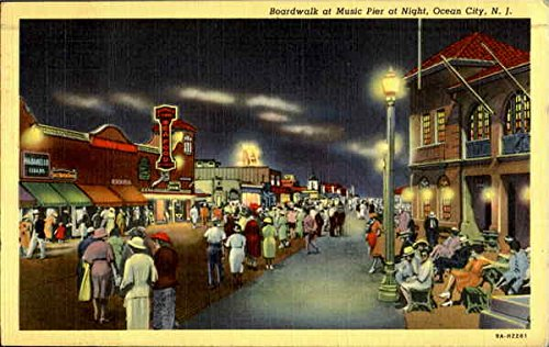 Boardwalk At Music Pier At Night Ocean City, New Jersey Original Vintage - The At Shops Pier