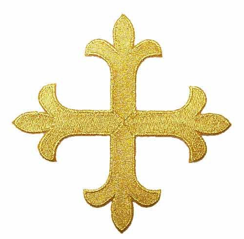 Iron-On Applique - Gold Cross Fleury Patonce #11619 - (Cross Vestment)