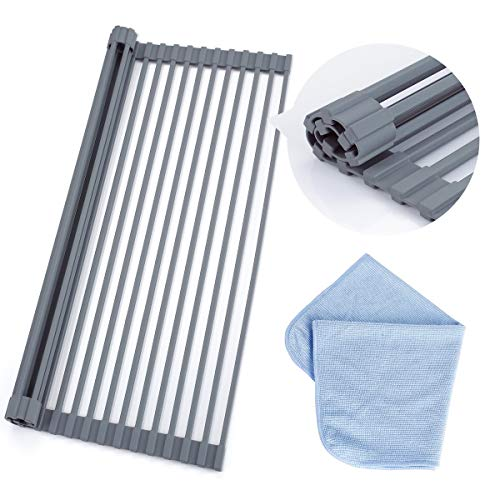 Roll Up Dish Drying Rack 20.5 X 13 inch, Stainless Steel Rods with Full Silicone Coated Anti-Rust and Anti-Slip - Include 1pcs Dishcloth, Multipurpose Foldable Over Sink Kitchen Drainer Rack - Rack Gray