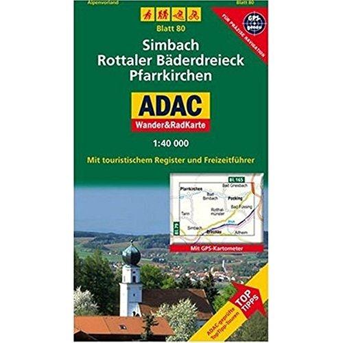 Simbach, Rottaler Bäderdreieck, Pfarrkirchen: 1:40000. Alpenvorland. GPS-genau (ADAC Rad- und WanderKarte)