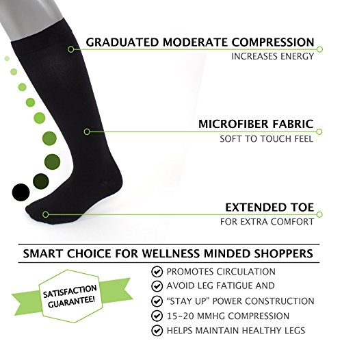 Compression Socks | Mens Black Dress Casual (1 pair) | (15-20 mmHg) Graduated | Sock Size 10-13 | Improve Foot Health Comfort Circulation for Diabetes, Edema, Flight Travel, Swollen Feet by Sugar Free Sox (Image #2)