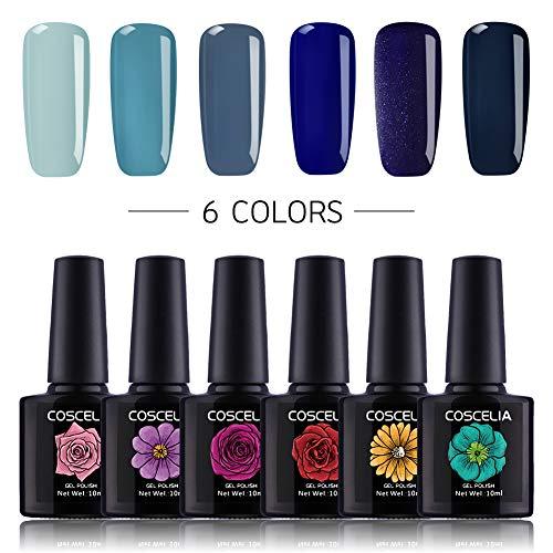 Coscelia 6 Color UV LED Gel Nail Polish Soak Off Gel Varnish Nail Art Starter Kit
