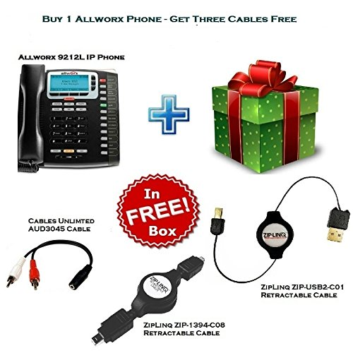 Zip Linq Wireless Phone (Allworx 9212L IP Phone with 2 Zip LINQ Retractable Cable and AUD3045 Cable)