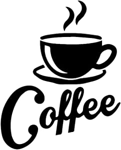 """SITAKE """"Coffee Cup + Coffee"""" Wall Decor Sticker, Black Coffee Decor for Coffee Bar and Coffee Station, Removable Kitchen Signs for Kitchen Decorations Wall, 16.5 x 20.5 Inch"""