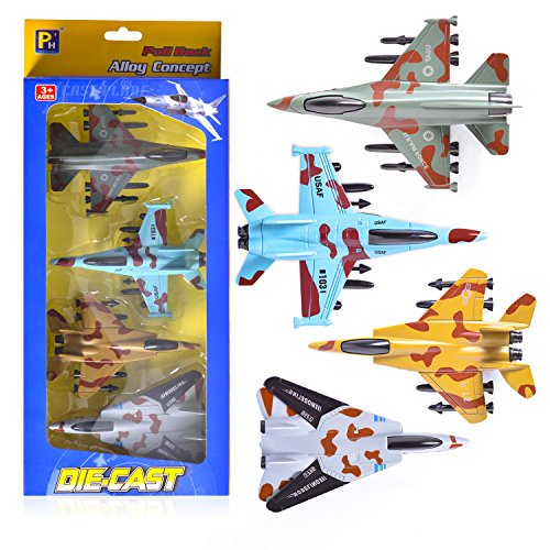 EXERCISE N PLAY Airplane Toys Set, Die Cast Metal Toy Airplanes Set of 4, Pull Back Model Airplanes Gift for Kid Over 3 Years, Friction Powered Design (Military Planes and Jets)