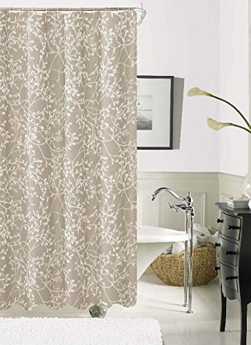 Dainty Home Willow Embroidered Fabric Shower Curtain Taupe High Quality