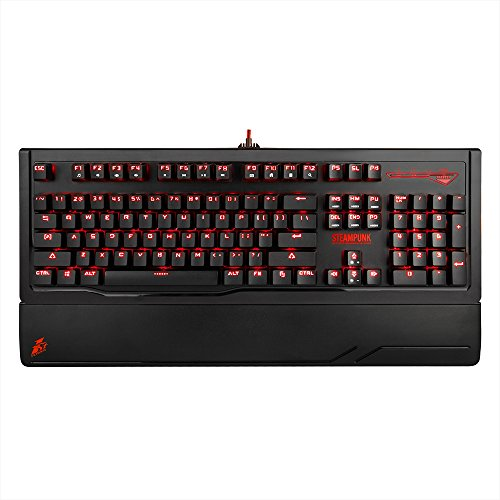 1stplayer Steampunk Mechanical Gaming Keyboard, 6 Red Led Effects,Wave, Ripple, Reactive, Breathing and More, Adjustable Keyboard Stand,Black - Remain Force Full In Effect And