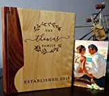 Personalized Wood Cover Photo Album, Custom Engraved Wedding Album, Style 157 (Maple & Rosewood Cover)