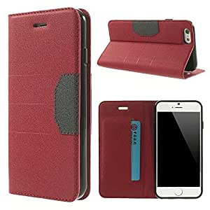 Apple iPhone 6 - Sand-like Finish Clutch Style Wallet Purse PU Leather Flip Carring Case, Snap-On Cover- Red