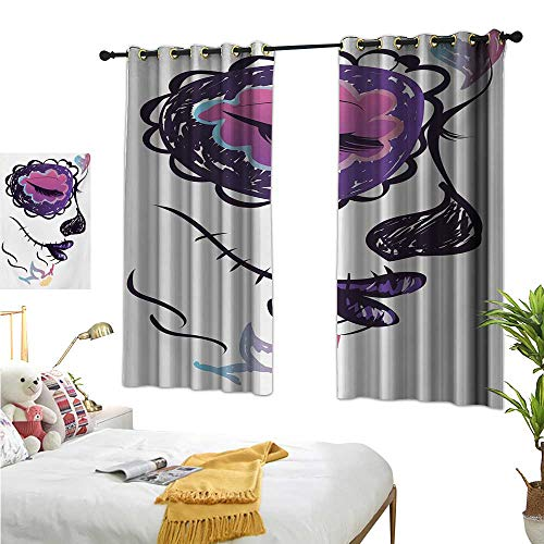 RuppertTextile Decor Curtains Sugar Skull Girl Face with Make Up Hand Drawn Mexican Artwork 55