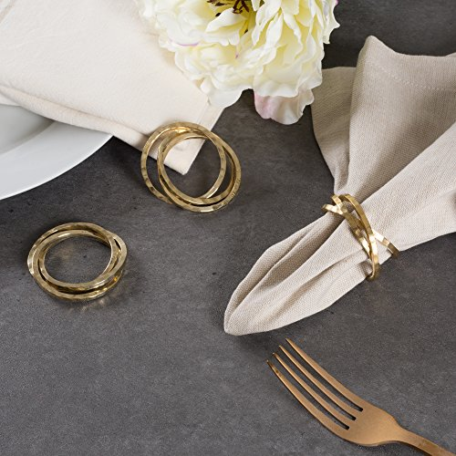 DII Napkin Rings for Family Dinners, Weddings, Outdoor Parties or Everyday Use - Gold Intertwined, Set of 6 by DII (Image #4)