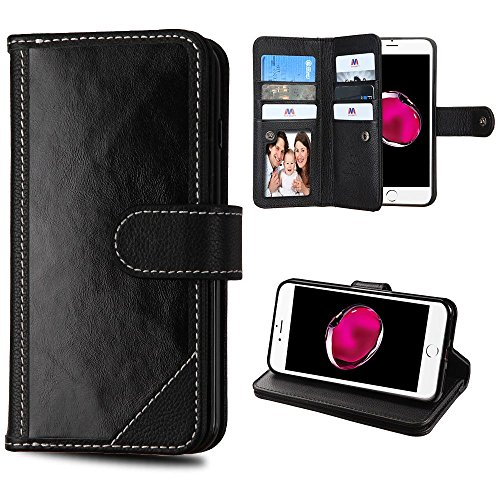 iPhone 7 Plus/8 Plus Case, Mybat Stand Genuine Leather Fabric ID/Credit Card Slot Case Cover for Apple iPhone 7 Plus/8 Plus, Black from MYBAT
