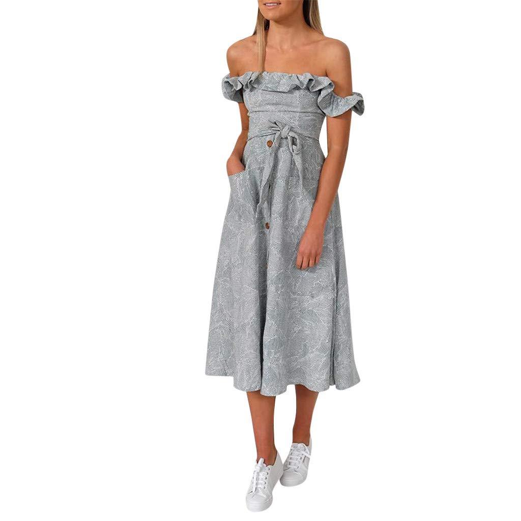 Women's Sleeveless Off Shoulder Ruffles Midi Long Dress Floral Print Tie Waist Maxi Dress with Pocket (Blue,S)