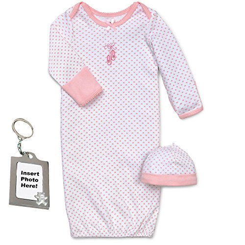 Little Me Pink Ballerina Baby-Girl Layette Gown Hat and Keychain 0-3 Mths