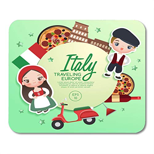 Semtomn Mouse Pad Colorful Costume Traveling Europe Italy Tourist Attractions Italian People Mousepad 9.8
