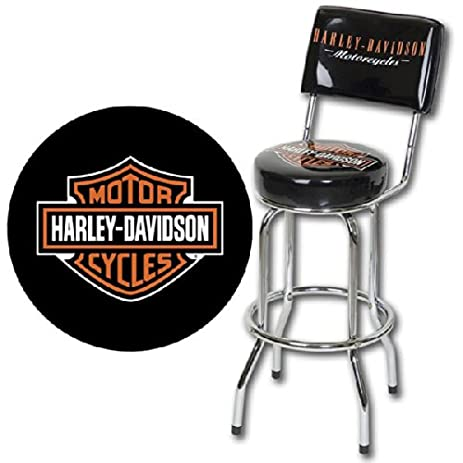 Harley-Davidson Bar Stool with Backrest - Black  sc 1 st  Amazon.com & Amazon.com: Harley-Davidson Bar Stool with Backrest - Black ... islam-shia.org