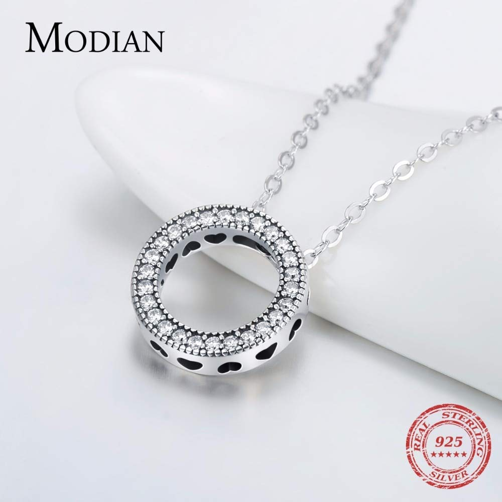 Davitu Romantic Real 925 Sterling Silver Fashion Round Hearts Necklace for Women Fantastic Life Wedding Necklaces Jewelry Gift
