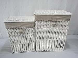 Harley - Juego de 2 cestos de mimbre blanco y revestimiento de tela para colocar la colada en el baño