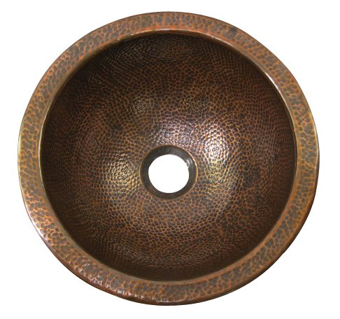 Cheap  Barclay 6733-AC Hammered Antique Copper Round Shape Self Rimming Large Bathroom Sink..