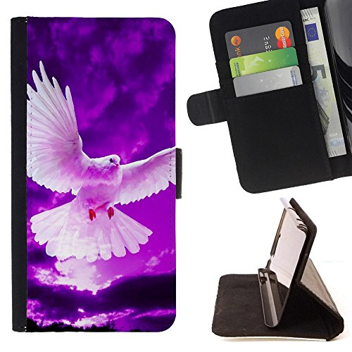 God Garden - FOR Apple Iphone 5C - Pigeon Flying In Purple - Glitter Teal Purple Sparkling Watercolor Personalized Design Custom Style PU Leather Case Wallet Fli