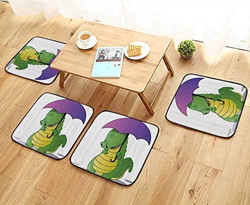 (Printsonne Universal Chair Cushions Crocodile Standing with Umbrella Rain Carto Humor Ficti Safari Personalized Durable W15.5 x L15.5/4PCS Set)
