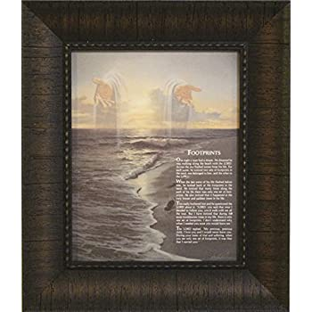 Amazon.com: Footprints in the Sand Framed Inspirational Art Poem ...