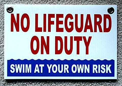 1 Pc Astonishing Unique No Lifeguard On Duty Sign Warning Message Swim Board Stand Decal Outdoor Peeing Pond Swimming Pool Poster Post Keep Water Allowed Diving Danger Signs Size 8