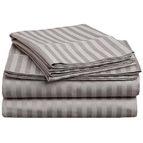 "Rinku Linen Real 400-Thread Count Sleeper Sofa Bed Sheet Set Pure Egyptian Cotton Queen Sofa (60"" x 74"") Silver Gray Stripe Fit Up to 6"" Inches Deep Pocket ."