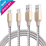 Image of Micro USB Cable 2Pack Elktry(TM) 6FT Fast Charging Nylon Braided Cable Data Transfering Charger for Samsung Galaxy S7 S6 Edge Note 5 4 3 LG HTC and More Android Smartphones(Champagne Gold)