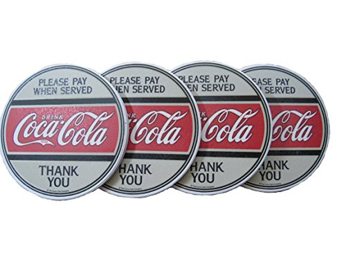 Officially Licensed Coca-Cola ~ Please Pay When Served ~ 4 pc Coaster Set