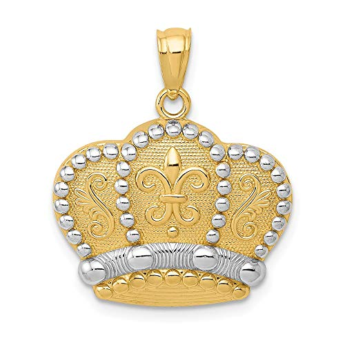 14k Yellow Gold Crown Pendant Charm Necklace Fine Jewelry Gifts For Women For Her ()