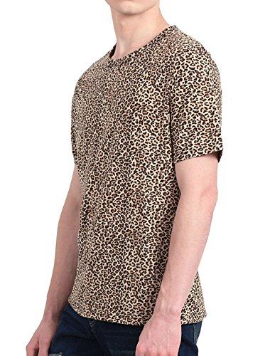 6ec3c8824888 uxcell Men Short Sleeve Round Neck Leopard Print T Shirt | Weshop ...