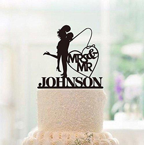 Fishing Wedding Cake Topper (Whitewindow Unique Wedding Cake Topper Wedding Couple Fishing Heart Cake Topper Custom Mr and Mrs Last Name Cake Topper Funny Wedding Cake Topper)