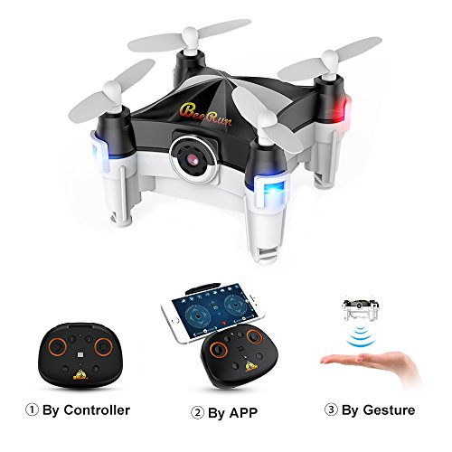 WiFi Mini Drone with Camera FPV RC Quadcopter with Dance Mode, Optical Flow, Altitude Hold and Headless Mode, Hand Movement Control Version, 2.4GHz by Beebeerun