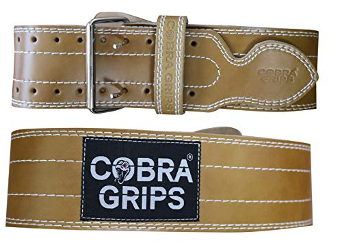 "Weight Power Lifting Belt 4"" Wide Cobra Grips Best Premium Genuine Leather Belt Men & Women Adjustable Weightlifting Back Support (Brown, Small 27-35)"