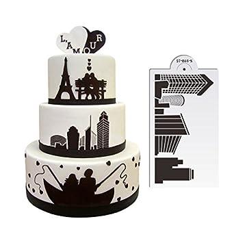 AK Art da cucina Landmark Buildings wedding plastica torta stencil ...