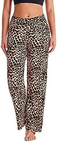 Gayhay Women's Comfy Stretchy Pajama Pants Wide Leg Print Palazzo Lounge Pants Drawst