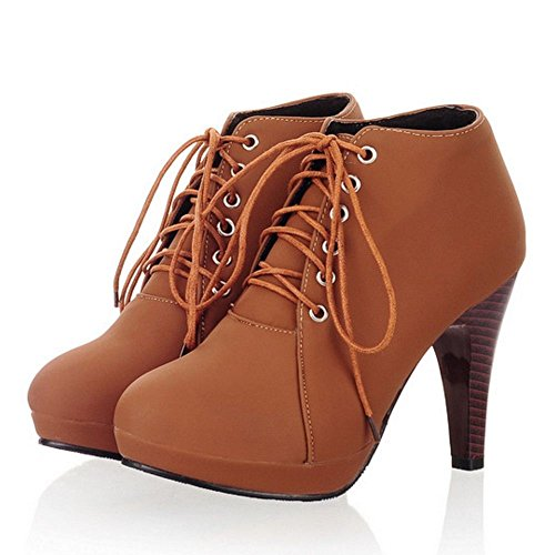 Up 2 Boots Brown Women Short Lace KemeKiss ZBSwOIqWx