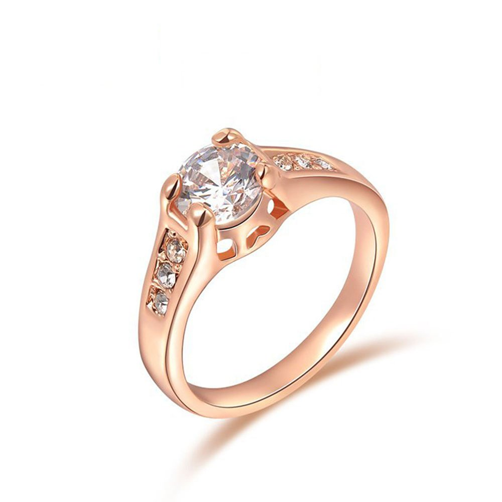 Winter.Z Noble and Elegant Ladies Jewelry Popular Explosion Models Simple Rose Gold Diamonds Ring Wedding 2010489225b