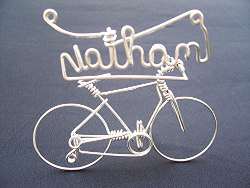 Handmade Personalized Gifts for Cyclists ~Add Your Own Name on Bicycle ~Custom Made Bike Ornament Art Decor ~Crafted by One Strand of Wire w/No Single Break ~ Stand Alone ~Mountain Bikes for Sale Now