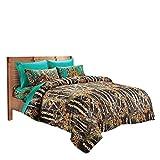 20 Lakes Black/Teal Camo Comforter, Sheet, and Pillowcase Set (Queen)