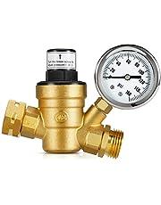 Kohree Water Pressure Regulator Valve, Lead-Free Adjustable Water Pressure Reducer with Gauge for RV Camper, and Inlet Screened Filter