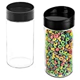 MyGift Set of 2 Clear Glass Dry Food Canister Jars with Easy Pour Lid, 64 oz