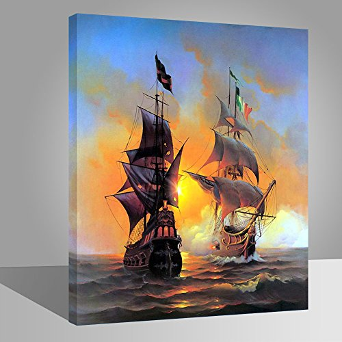 LIUDAO Paint by Numbers Kit for Beginner, DIY Oil Painting 16x20 Inch Wood Frame (Sailboat)