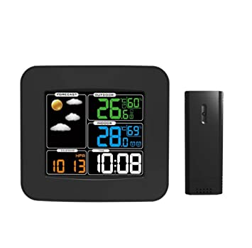 JMungS TermóMetro Higrometro Digital TS-75 FuncióN InaláMbrica Del Reloj Interior Al Aire Libre BaróMetro