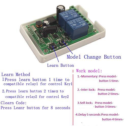 Mangood 12V-48V 2CH Motor Remote Switch Controller DC 12V 24V 36V 38V Motor Screen Forwards Reverse Up Down Transmitter Universal Wireless Switch 2Channel ON Off
