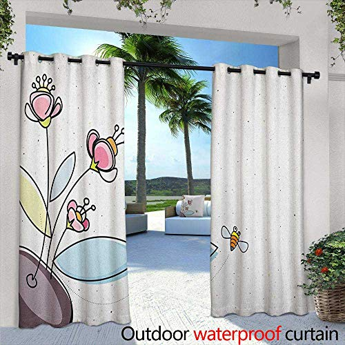 Floral Thermal Insulated Blackout Curtains Flower Pot with Blossoms Leaves and Bees Flying Around Summer Season Inspirational Simple Stylish 72